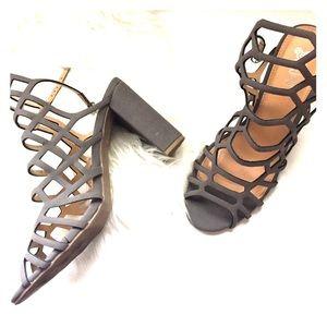 Brash strappy gray heels
